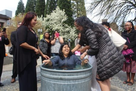 Sandra is radiating with joy after her baptism!